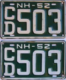 1952 New Hampshire (Pair) license plate for sale