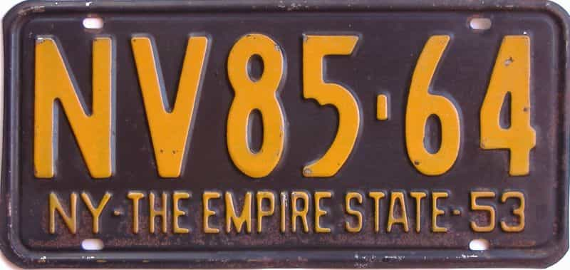 1953 New York license plate for sale