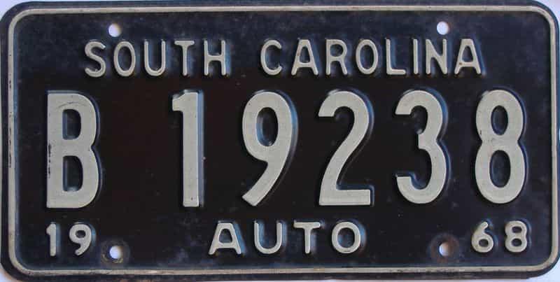 1968 SC (Single) license plate for sale