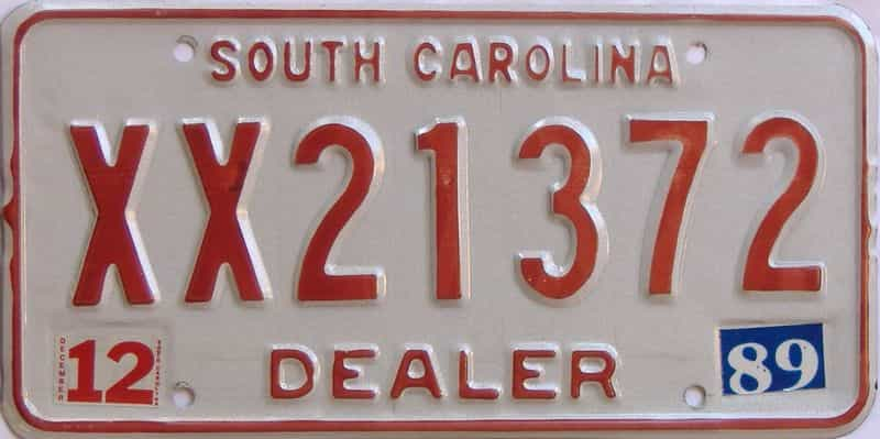 1989 South Carolina (Dealer) license plate for sale