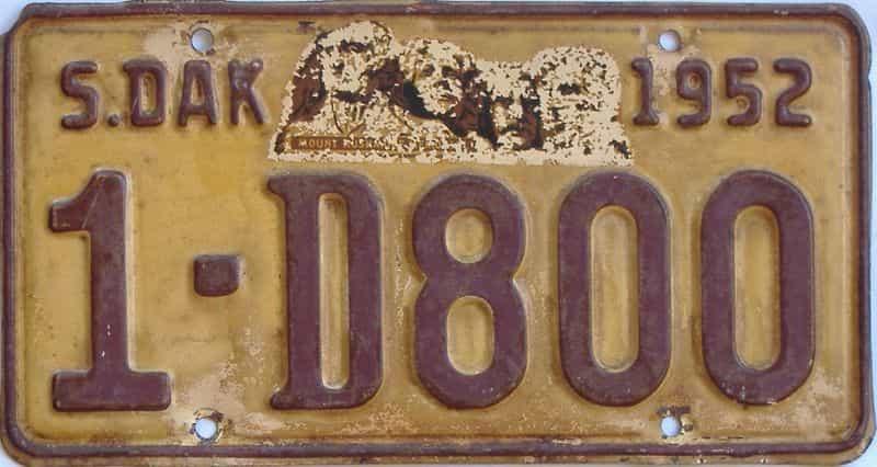 1952 South Dakota  (Single) license plate for sale