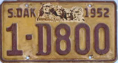 1952 South Dakota (Single) license plate for sale