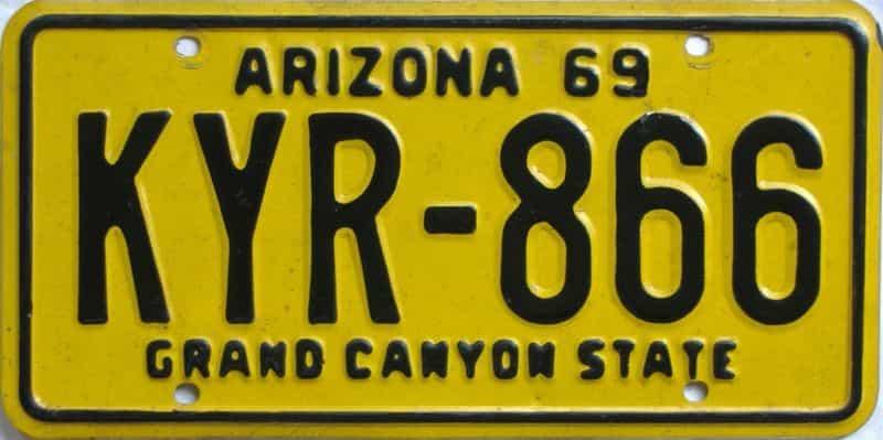 1969 Arizona (Single) license plate for sale