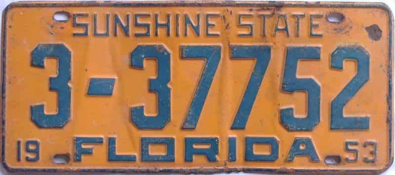 1953 FL license plate for sale