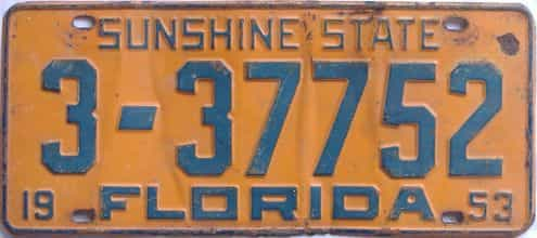 1953 Florida license plate for sale