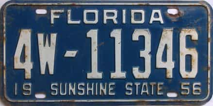 1956 Florida license plate for sale