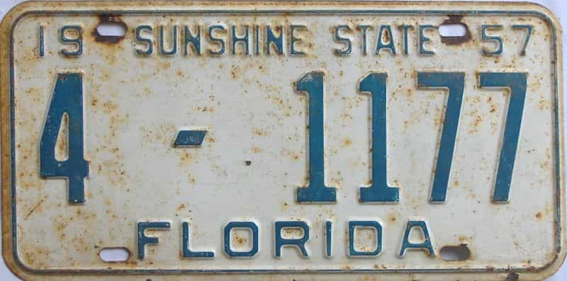 1957 FL license plate for sale