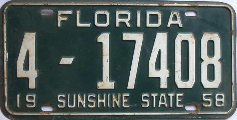 1958 FL license plate for sale