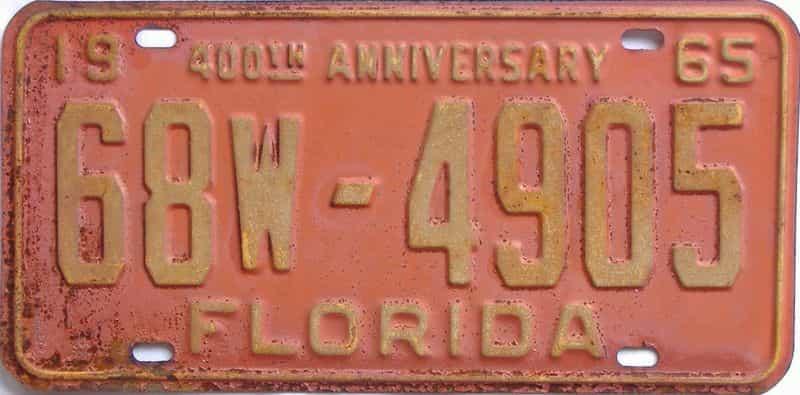 1965 FL license plate for sale