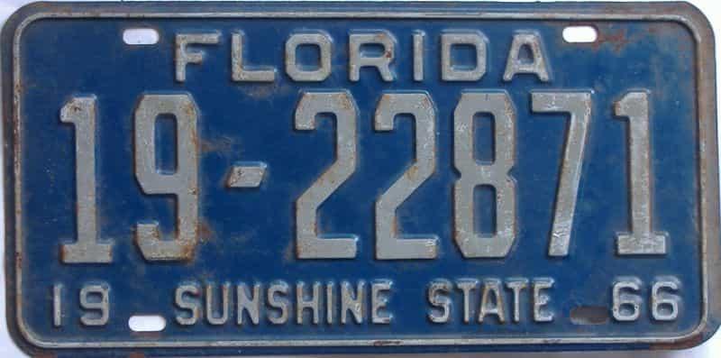 1966 FL license plate for sale
