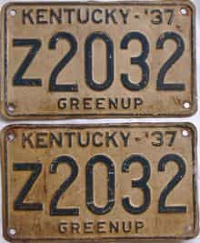 1937 Kentucky (Pair) license plate for sale