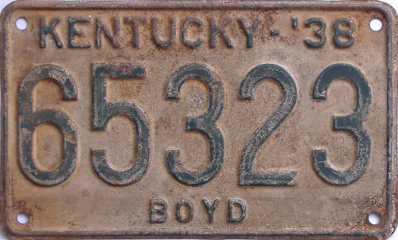 1938 Kentucky  (Single) license plate for sale