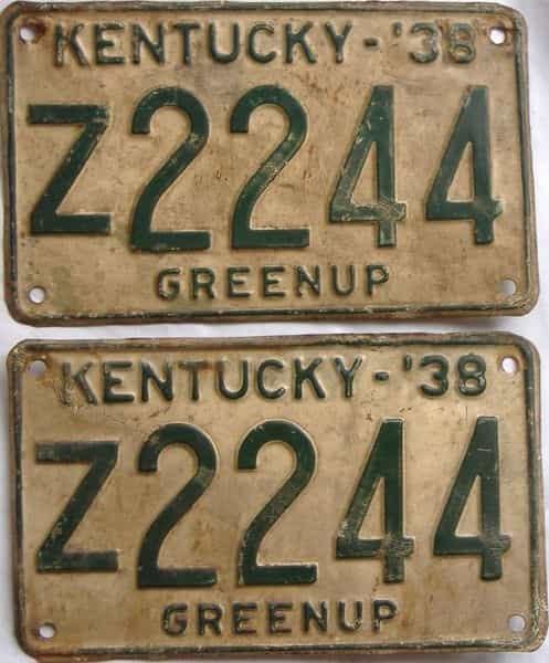 1938 Kentucky  (Pair) license plate for sale