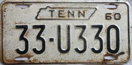 1960 Tennessee (Single) license plate for sale