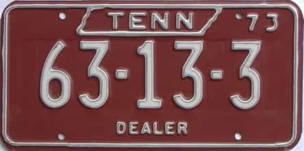 1973 Tennessee (Dealer) license plate for sale