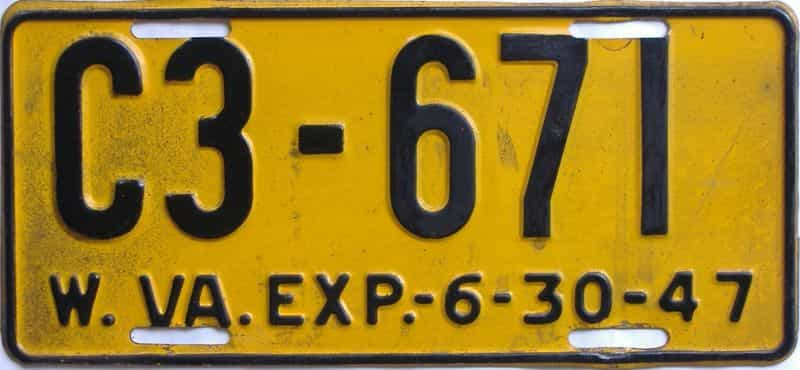 1947 WV license plate for sale