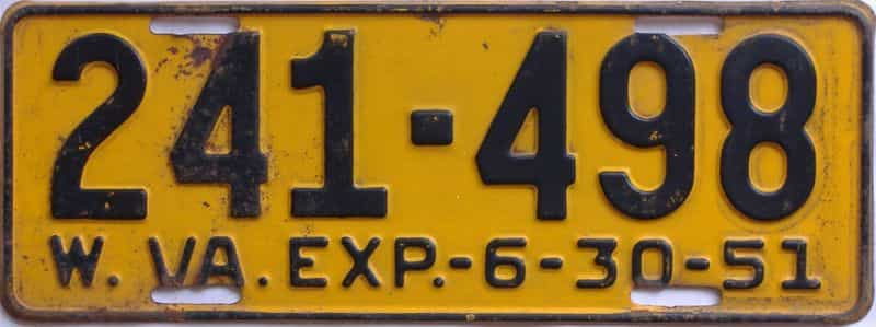 1951 West Virginia license plate for sale