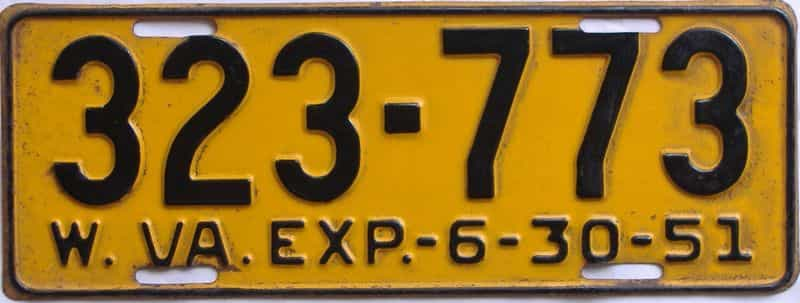 1951 WV license plate for sale