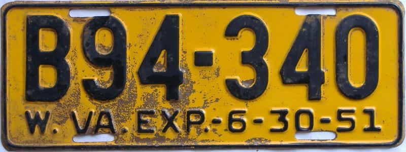 1951 WV (Truck) license plate for sale