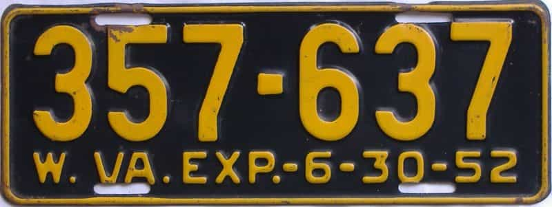 1952 WV license plate for sale