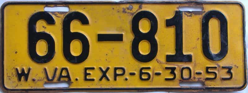 1953 West Virginia license plate for sale
