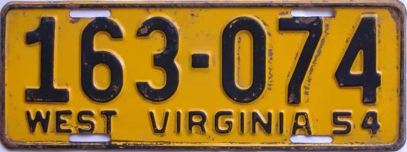 1955 West Virginia license plate for sale