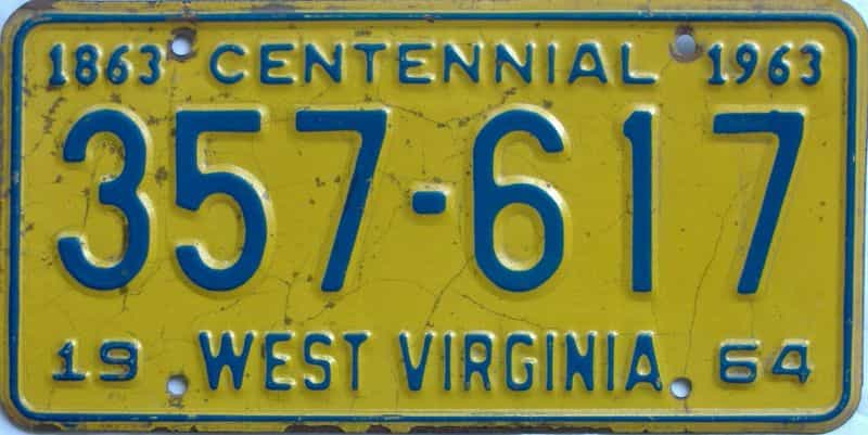 1964 WV license plate for sale
