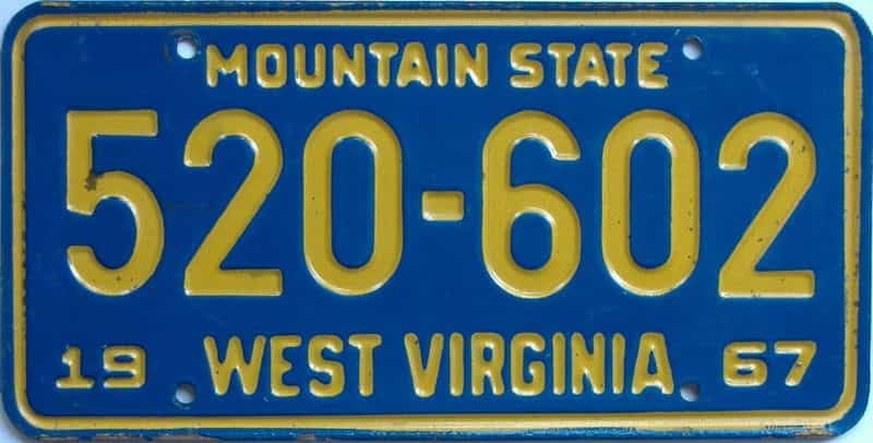 1967 WV license plate for sale