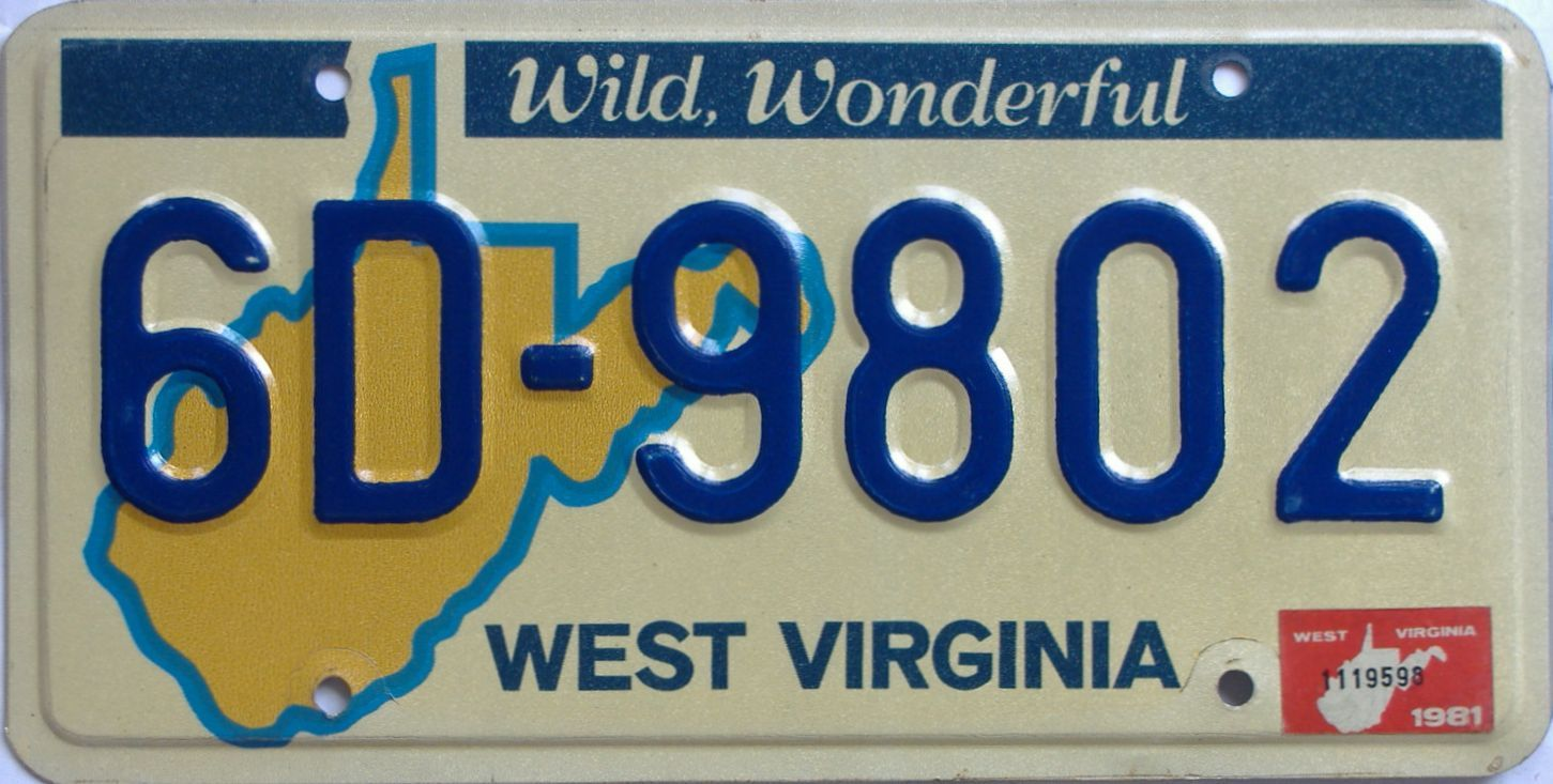 YOM 1981 West Virginia (Natural) license plate for sale