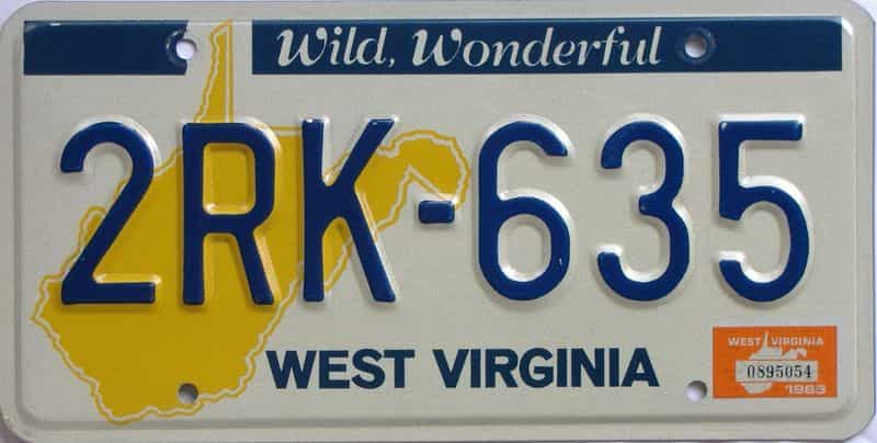 YOM 1985 West Virginia (Natural) license plate for sale