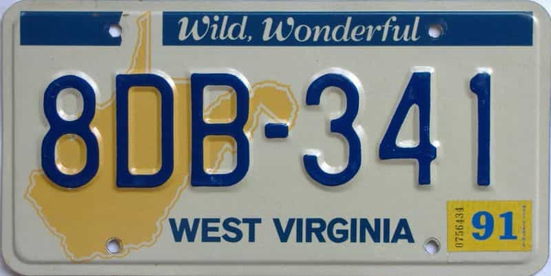 YOM 1991 West Virginia (Natural) license plate for sale