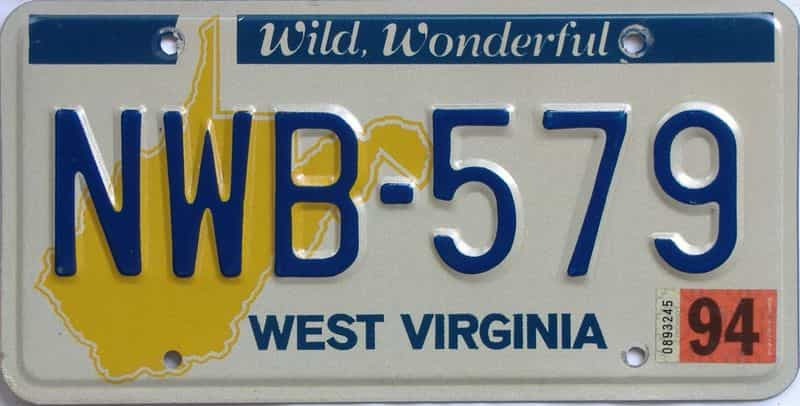 1994 West Virginia (Natural) license plate for sale