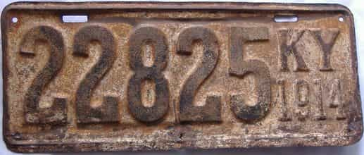 1914 Kentucky (Very Rare) license plate for sale