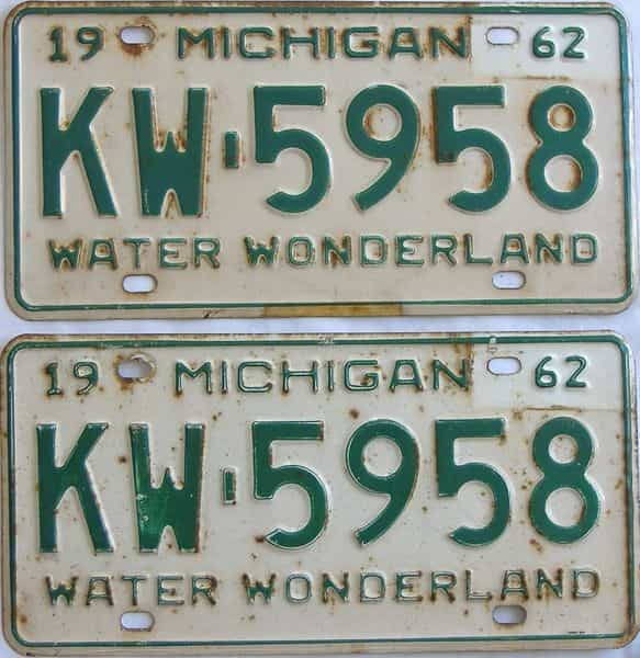 1962 MI (Pair) license plate for sale