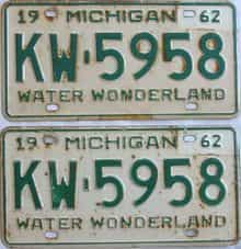 1962 Michigan (Pair) license plate for sale