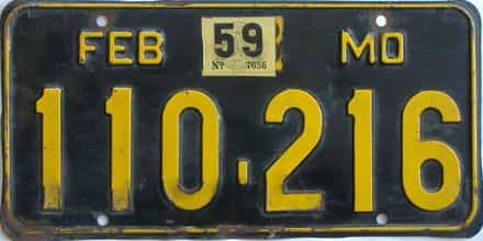 1959 Missouri license plate for sale