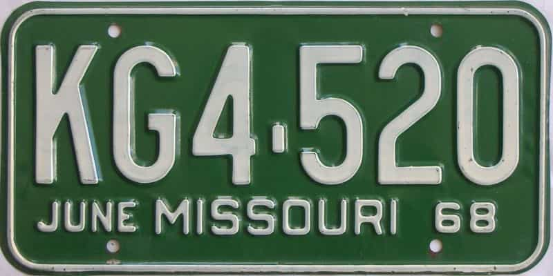 1968 Missouri license plate for sale