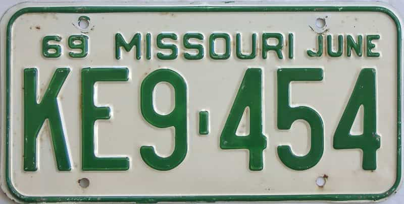 1969 MO license plate for sale