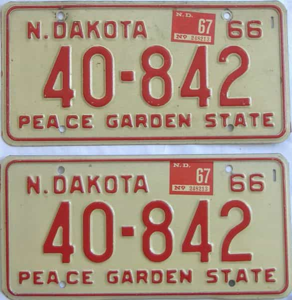 1967 ND (Pair) license plate for sale