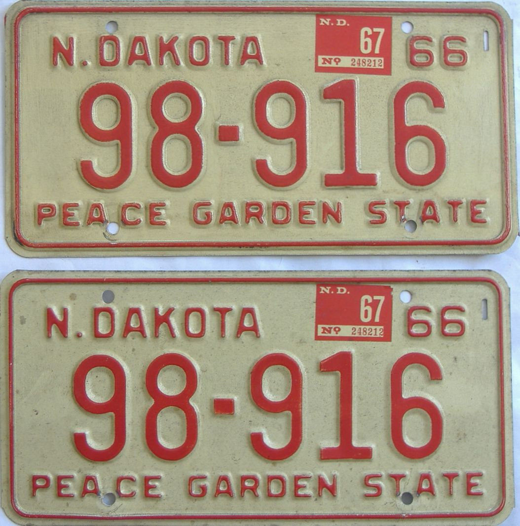 1967 North Dakota (Pair) license plate for sale