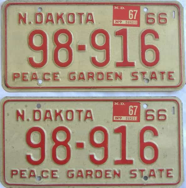 1967 North Dakota (Pair) license plate for sale