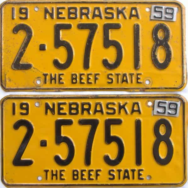 1959 NE (Pair) license plate for sale