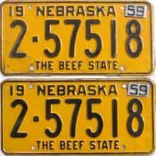 1959 Nebraska (Pair) license plate for sale