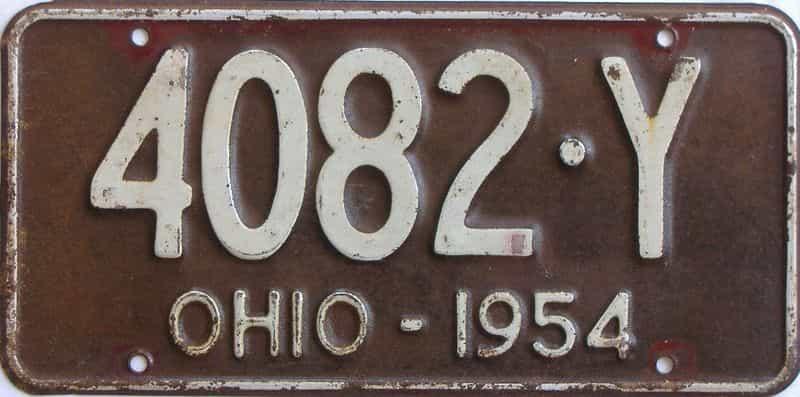 1954 Ohio (Single) license plate for sale