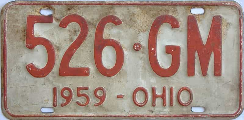 1959 Ohio (Single) license plate for sale