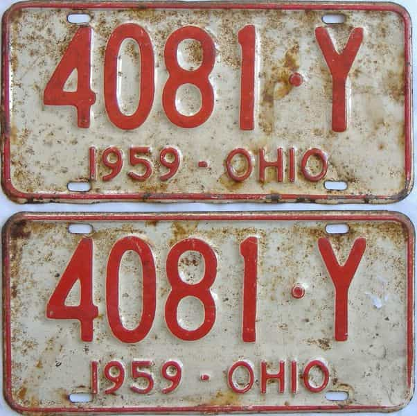 1959 Ohio (Pair) license plate for sale