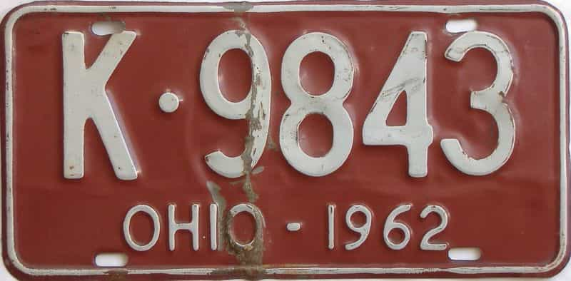 1962 OH (Single) license plate for sale