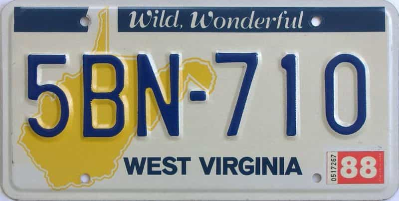 YOM 1988 West Virginia (Natural) license plate for sale