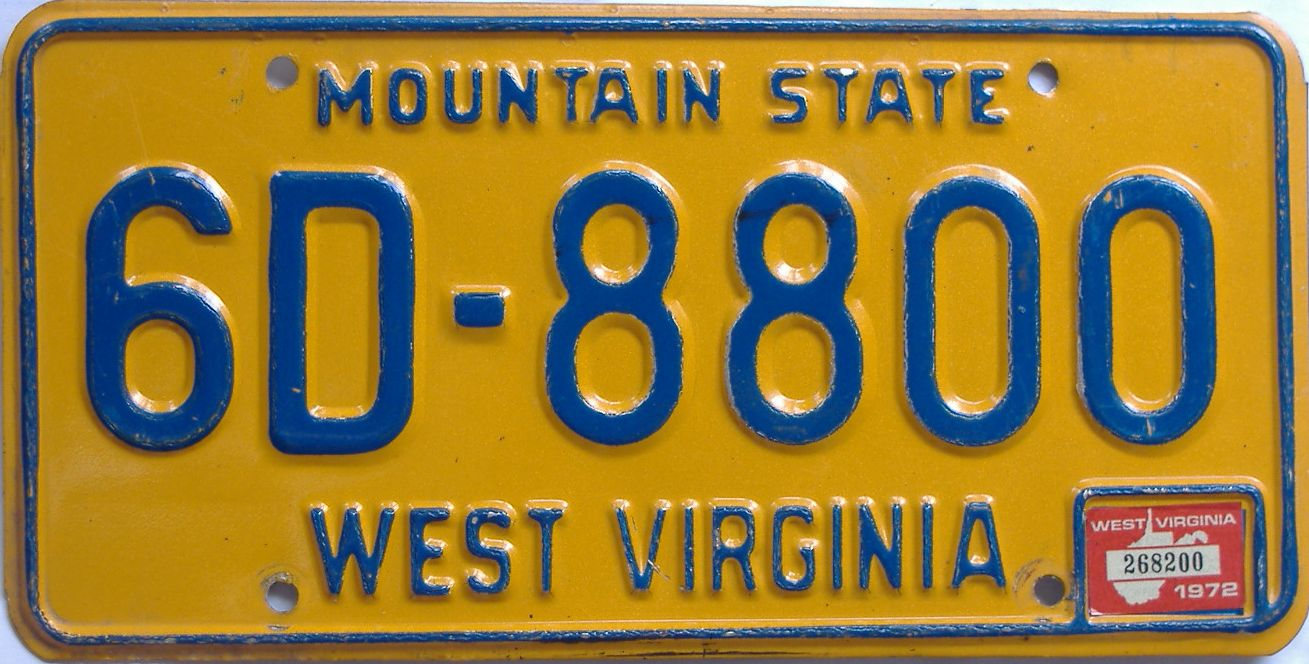 1972 West Virginia license plate for sale