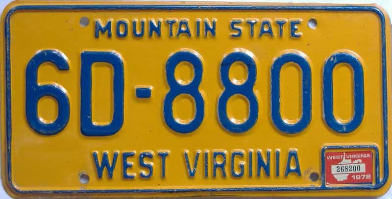 1972 WV license plate for sale